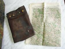 WWII ORIGINAL GERMAN LEATHER MAP CASE w/LUFTWAFFE MAP