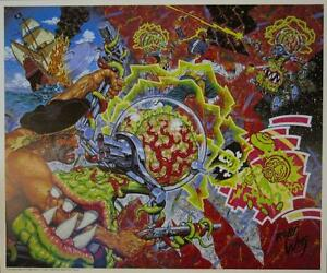 ROBERT WILLIAMS FLYING SAUCER ATTACK ON A PIRATE GALLEON POSTER LOWBROW ART