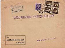 REGNO-Quartina 30c+50c(249+251)-Raccomandata Camerino->Serravalle 6.6.1941