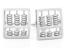 925 Sterling silver abacus cuff links for men with black gift box and purple bag