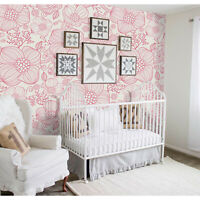 Red line flowers Removable wallpaper red and white wall mural design