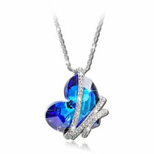 """Heart of the Ocean"" Blue SWAROVSKI ELEMENTS Crystal Heart Pendant Necklace"