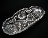 "ABP American Brilliant Cut Glass Crystal Celery Dish Tray Buzz Stars 11 3/4"""