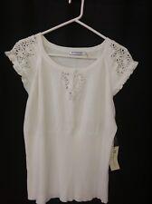 Hannah Jones Womens Knit Top New Size Large Cream Crochet  NWT