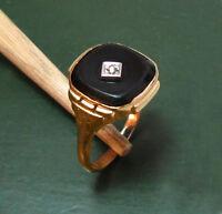 Wunderbarer 585er Art Déco GOLDRING m. ONYX u. Diamant ~1930 • 3,15 g Klassiker