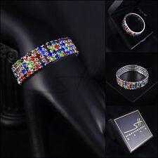 Dehnbares Armband mit Gummi *Zirkonia*, Weißgold pl, Swarovski Elements, +Etui