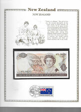 New Zealand 1 Dollar 1981-85 Hardie P169a GEM UNC w/FDI UN FLAG STAMP Prefix AFD