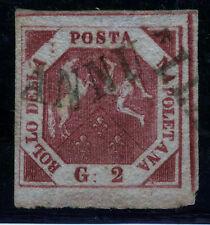 Italien-Neapel 3, O, 2 Gr. Wappen, Sassone 7 g carmino violaceo, gepr. Sorani