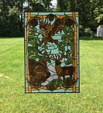 "24"" x 36"" Bald Eagle Bear and Deer Handcrafted stained glass window panel"