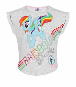 Girls Kids Official My Little Pony Grey 'Rainbow Dash' Short Sleeve T Shirt Top