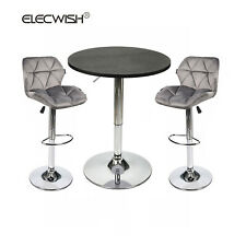 Set of 3 Swivel Bar Stools Table Set Hydraulic Adjustable Counter Chair Dining