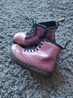 Dr Martens 1460 T Boots Pink Sparkly Glitter Kids Girls Size UK 9 EU 27