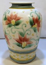 "Pottery Studio Art Hand Made Floral Vase Artist Signed 9 1/4"" Tall"