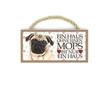 Mops (Ein Haus..) Haustier Kühlschrankmagnet aus Holz mit Kordel 42