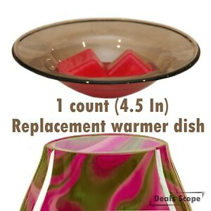 """4.5"""" Brown Scentsy Replacement Oil Wax Warmer Dish Plate Tray Glass Melt Lid"""