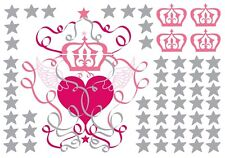 ANGEL WINGS Wall Decals Silver Stars Hearts Princess Crowns Room Decor Stickers