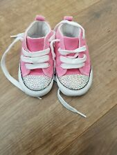 BABY GIRLS PINK CRYSTAL BLING CONVERSE TRAINERS, SIZE 3 EU 19 SOFT SOLES