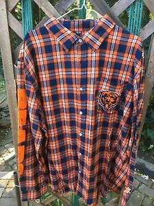 Team Apparel NFL Chicago Bears Button Down Shirt Men's Flannel Plaid 2XL UNWORN