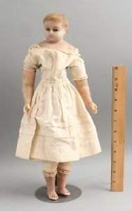 Large 18in Antique 19thC Wax Head Doll w/ Blue Glass Eyes, No Reserve!