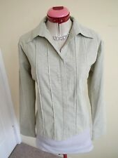 ACCENT Cream Green Tones SHIRT TOP Size L 14 BNWT NEW Long Sleeves Button Up