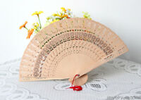 Chinese Wooden Bamboo Folding Hand Fan Wedding Party Flower Pattern GB