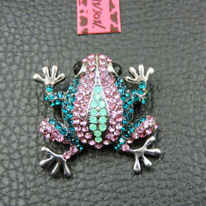 Betsey Johnson Pink Crystal Enamel Frog Charm Woman's Brooch Pin Gift