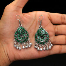 Festive Collcetion Green Pair of Dangle Afghani Earrings for Girls and Woman
