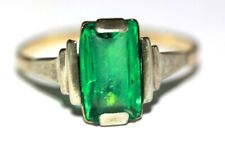 Vintage Art Deco 1930s 9 ct yellow gold green paste geometric ring size R