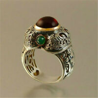 Retro Vintage Silver Ruby Emerald Ring Women Wedding Engagement Jewelry Sz 6-10