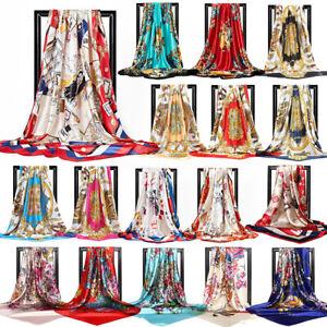 Scarf Women Print Silk Satin Large Square Shawl Stole Hijab Wrap 90*90cm Fashion
