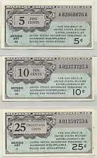 SERIES 461 MPC NOTES ~ 5 -10 - 25 CENTS ~ ALL 3 NOTES NICE CHOICE UNCIRCULATED