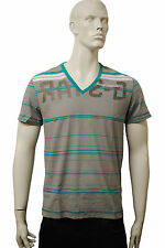 Mens G-Star T Shirt Top Turquoise Stripes - Grey Size M MG41.5