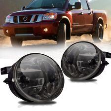 for 05-08 Nissan Armada 04-14 Titan Smoke Front Bumper Fog Light Lamps+Bulbs L+R