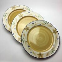 Denby CARAMEL STRIPES LOT of 2 Dinner Plates England Stoneware Discontinued