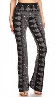 (sho sho) Fashion Flare Pants with Elastic Waist, Slim Fit Mid Rise Flared Legs