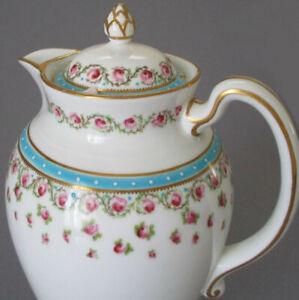 Antique Porcelain COFFEE POT Pink ROSES Turqouise ENAMEL Beading * George Jones