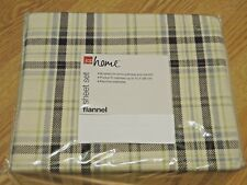 FLANNEL BEIGE/BROWN PLAID SHEET SET FLAT, FITTED, PILLOW CASES, FULL SIZE