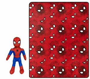 "Spider-Man 50x40"" Throw Blanket 13"" Spiderman Pillow Figurine Marvel Comics NWT"