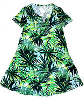 Spense Palm Leaf Print Short Sleeve Swing Dress, Small MSRP $38.00