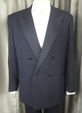 Harrods Black Wool Pattern Weave Dinner Suit Tuxedo C44R W40 L32