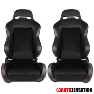 2PC Black Suede PVC Leather Red Stitch Speed Racing Seats Pair Left+Right