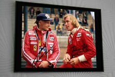 "James Hunt & Niki Lauda F1 ""RUSH"" Rare Framed 16x12 Canvas Print Signed."