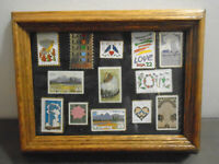 VINTAGE FRAMED WYOMING STAMP PIN COLLECTION LOT OF 13 STAMP PINS
