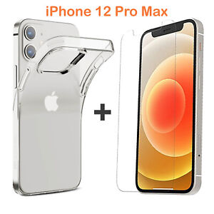 For Apple iPhone 12 PRO MAX Clear Case Cover and Soft Front Screen Protector