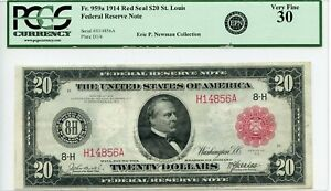 FR959a $20 1914 FRN Red Seal St. Louis PCGS 30 Very Fine Newman (#623 DFP 4/6)