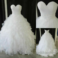 Plus Size 6-30W Elegant Sweetheart Wedding Dresses Ruffles Organza Bridal Gowns