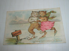 Vintage Antique Whimsical Postcard Cats Skating Thin Ice