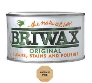 Briwax Antique Pine Furniture Wax Polish Wood Cleaner Restorer 400g Natural Tin