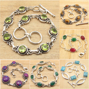Many Stones, Styles ! Real PERIDOT & Other Gems 925 Silver Plated BRACELETS NEW