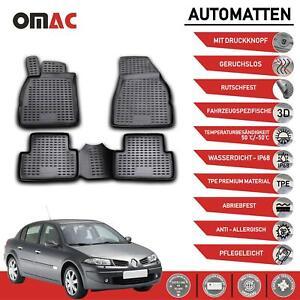 Fußmatten für Renault Megane II 2002-2009 3D Passform Hoher Rand Gummi Schwarz